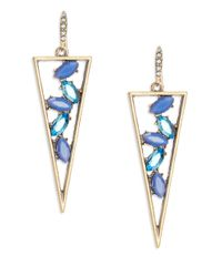 ABS By Allen Schwartz | Blue Open Triangle Drop Earrings | Lyst