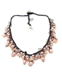 Aeravida | Freshwater Pink Pearls Drops Handmade Necklace | Lyst