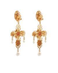 Dolce & Gabbana - Metallic Cameo Embellished Cross Clip-On Earrings - Lyst