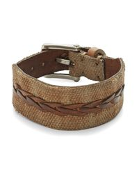 John Varvatos | Brown Braided Leather Bracelet for Men | Lyst