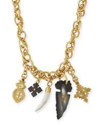 Ashley Pittman | Metallic Tego Bronze Necklace With Horn Charms | Lyst