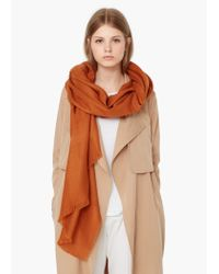 Mango | Orange Textured Scarf | Lyst