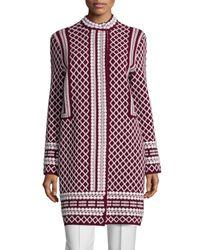Tory Burch - Red Long Jacquard Sweater Coat - Lyst