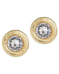 Kenneth Jay Lane | Metallic Round Crystal Earring | Lyst