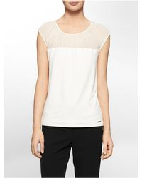 Calvin Klein | Natural White Label Chiffon Shoulder Cap Sleeve Top | Lyst