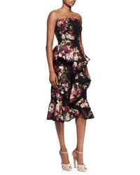 Alexander McQueen - Multicolor Floral-print Ruffle-front Strapless Dress - Lyst