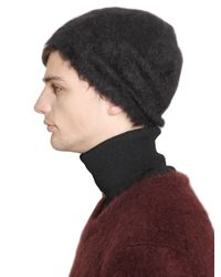 Jil Sander | Black Mohair Wool Blend Knit Beanie Hat for Men | Lyst