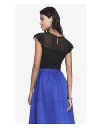 Express - Black Pleated Flutter Sleeve Fitted Tee - Lyst