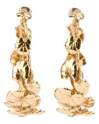 Aurelie Bidermann - Metallic Leaf Hoop Earrings - Lyst