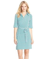 Laundry by Shelli Segal | Green Print Jersey Shirtdress | Lyst