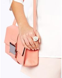 ASOS - Natural Flower Ring with Faux Pearl - Lyst