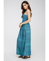 Forever 21 - Blue Strapless Tribal Print Maxi Dress - Lyst