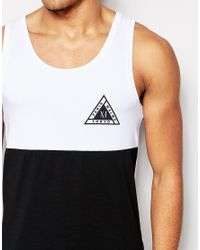 ASOS - Black Muscle Vest With Half And Half And Triangle Chest Print - White for Men - Lyst