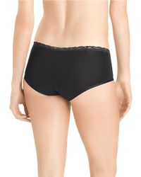 Natori | Black Lace Trim Boy Shorts | Lyst