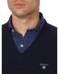 GANT - Blue Cotton V Neck Jumper for Men - Lyst