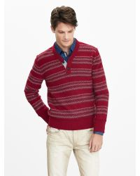 Banana Republic | Red Heritage Vee Henley Pullover for Men | Lyst