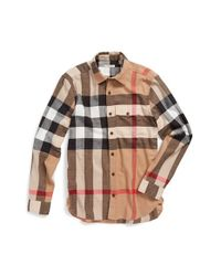 Burberry Brit | Natural 'jamie' Trim Fit Flannel Sport Shirt for Men | Lyst