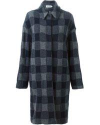 Barena - Blue Checked Coat - Lyst