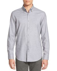 BOSS - Gray 'leonard' Regular Fit Melange Sport Shirt for Men - Lyst