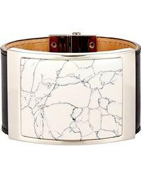 Balenciaga | Black Large Marble-plate Bracelet | Lyst