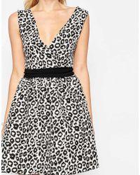Liquorish - Black Leopard Print Skater Dress With Waistband - Lyst