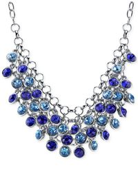 2028 - Metallic Silver-Tone Blue Cluster Bib Necklace - Lyst
