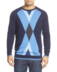 Bugatchi | Blue Merino Wool Argyle Crewneck Sweater for Men | Lyst