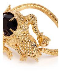 Alexander McQueen Metallic Salamander Rock Crystal Cuff