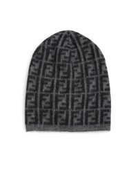 Fendi | Black Wool-blend Logo Beanie for Men | Lyst