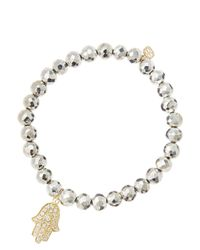 Sydney Evan - White 6mm Faceted Silver Pyrite Beaded Bracelet With 14k Yellow Gold/diamond Medium Hamsa Charm (made To Order) - Lyst