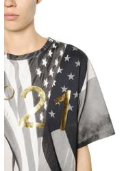 N°21 - Gray Flag Printed Cotton Jersey T-shirt - Lyst