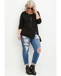Forever 21 - Black Plus Size Front-slit Raglan Sweatshirt - Lyst