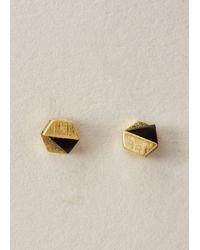Ming Yu Wang | Metallic Gold-plated Brass / Onyx Decimal Earrings | Lyst