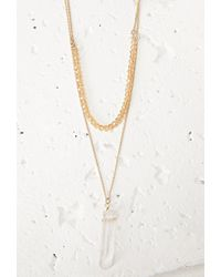 Forever 21 - Metallic Layered Faux Crystal Necklace - Lyst
