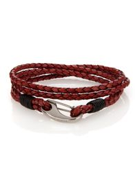 Ted Baker | Red Plaited Leather Band Bracelet for Men | Lyst