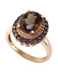 Effy | Metallic 14kt. Rose Gold Smokey Topaz Ring With Brown And White Diamonds | Lyst