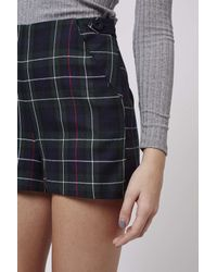 TOPSHOP - Blue Petite Tartan High-waisted Shorts - Lyst