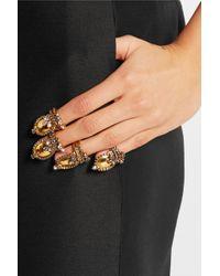 Erickson Beamon | Metallic Hung Up Gold-plated Swarovski Crystal Ring | Lyst