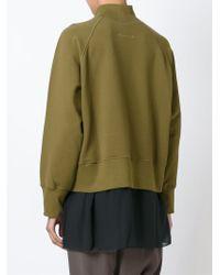MM6 by Maison Martin Margiela - Green Ribbed Roll Neck Sweatshirt - Lyst