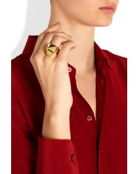 Saint Laurent - Metallic Gold-Plated Ring - Lyst