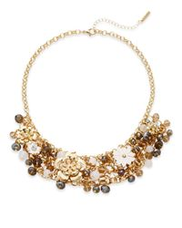 Saks Fifth Avenue | Metallic Jeweled Floral Statement Necklace | Lyst
