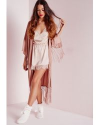 Missguided - Natural Lace Trim Satin Wrap Teddy Nude - Lyst