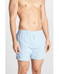 Lacoste | Blue Woven Cotton Boxers for Men | Lyst