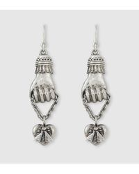 Gucci - Metallic Earrings With Hand Pendants - Lyst