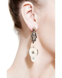 Bochic - Metallic Carved Mammoth and Diamond Earrings in White - Lyst