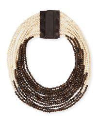 Brunello Cucinelli | White Riverstone Multi-Strand Necklace | Lyst