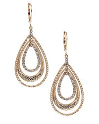 Judith Jack | Metallic Gold Marcasite Leverback Hoop Earrings | Lyst