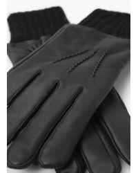 Violeta by Mango - Black Leather Detail Gloves - Lyst