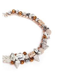Assad Mounser | Metallic 'tania' Rhinestone Pavé Swarovski Gem Necklace | Lyst