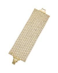 Lauren by Ralph Lauren - Metallic Goldtone Crystal Mesh Wide Bracelet - Lyst
